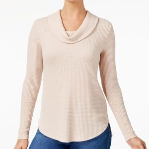 Style & Co Cowl-Neck Waffle-Knit Top